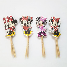 24pcs/lot Cartoon Cute Minnie Mouse Cup Cake Picks Cupcake Topper Kids Birthday Party Decoration Supplies