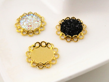 14pcs 12mm Inner Size Gold Plated Brass Material Simple Style Cabochon Base Cameo Setting Charms Pendant Tray (A1-23)