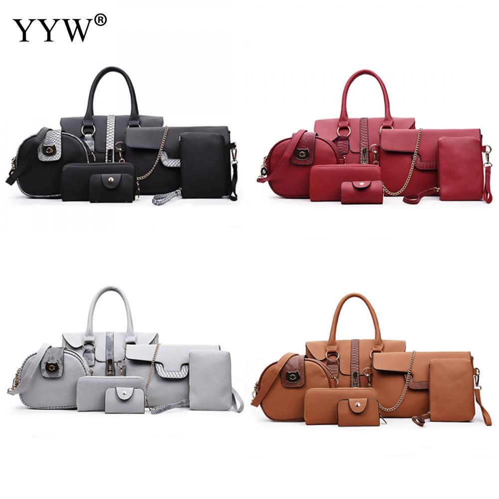 YYW 6pcs Fashion Women Leather Bag Suit Snakeskin Pattern Shoulder Bags Coin Purse WomenS Crossbody Bags Bolsa Feminina  <br>