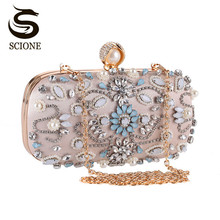Luxury Clutch Purse Women Crystal Diamond Evening Bags White Pearl Beaded Shoulder Party Bag Bridal Wedding Clutches Handbags