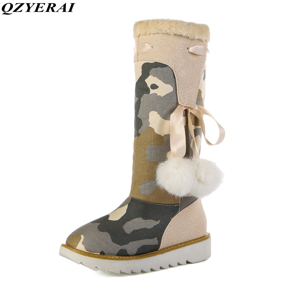 QZYERAI Winter camouflage to the knee warm women snow boots fashion warm women shoes anti-skid soles female  boots  <br>