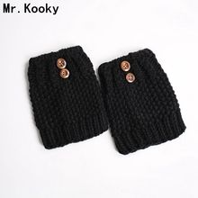 Mr.Kooky Fashion Designer Knitted Women Girls Thick Leg Warmers Autumn Winter Osmanthus Needle Button Boot Guff Crochet Socks