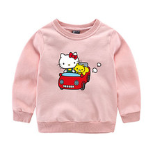 Hello Kitty 1-9T casual cartoon girls sport sweatshirt top hoodies cotton children clothing baby kids clothes outerwear