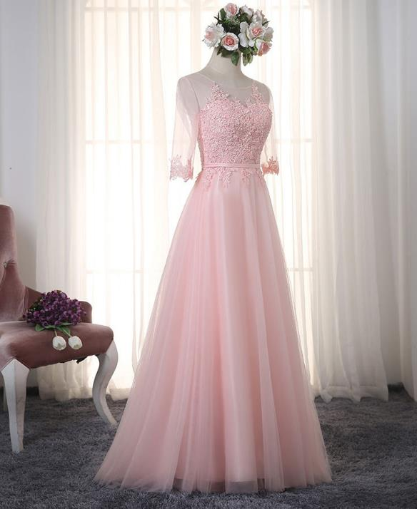 VENSANAC 2017 New A Line Embroidery O Neck Long Evening Dresses Elegant Half Sleeve Sash Lace Party Prom Gowns 9