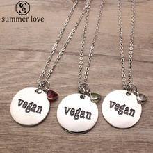 Letter Vegan Charm Necklace Stainless Steel Chain Triangle Crystal Pendant Necklace For Women Men Vegetarian Jewelry 2017 New(China)