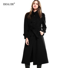 ESCALIER New Design Vogue Winter Women Coat Black Wool Coat With Big Fur Collar Warm Outerwear Overcoat With Belt Free Shipping(China)