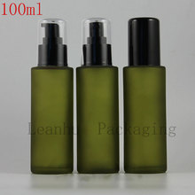 100ml Frosted Green Glass Spray Bottle,DIY Empty Makeup Containers,Perfumes And Fragrances For Women,Cosmetic Sample Containers