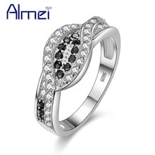 Almei USA Rings Black Crystal Silver Color Ring Women Anel Vintage Bague Femme Wedding Jewelry Anillos Bijoux Big Designer Y004(China)