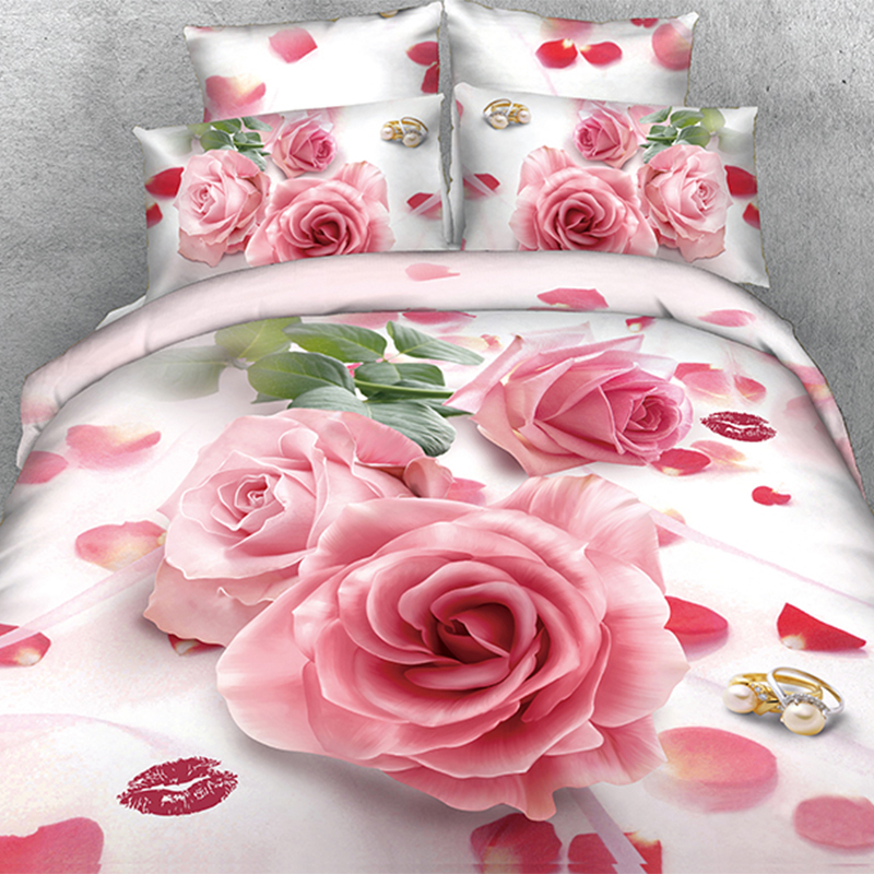 Deluxe Comforter Sets Beautiful Wedding Pink Rose Quilt Inner 3D Comforter Sets(China)