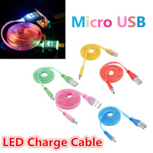 Universal LED Light 8pin USB to Micro USB Data Sync Charging Charger Cable Cord Wire For HTC Samsung S3 S4