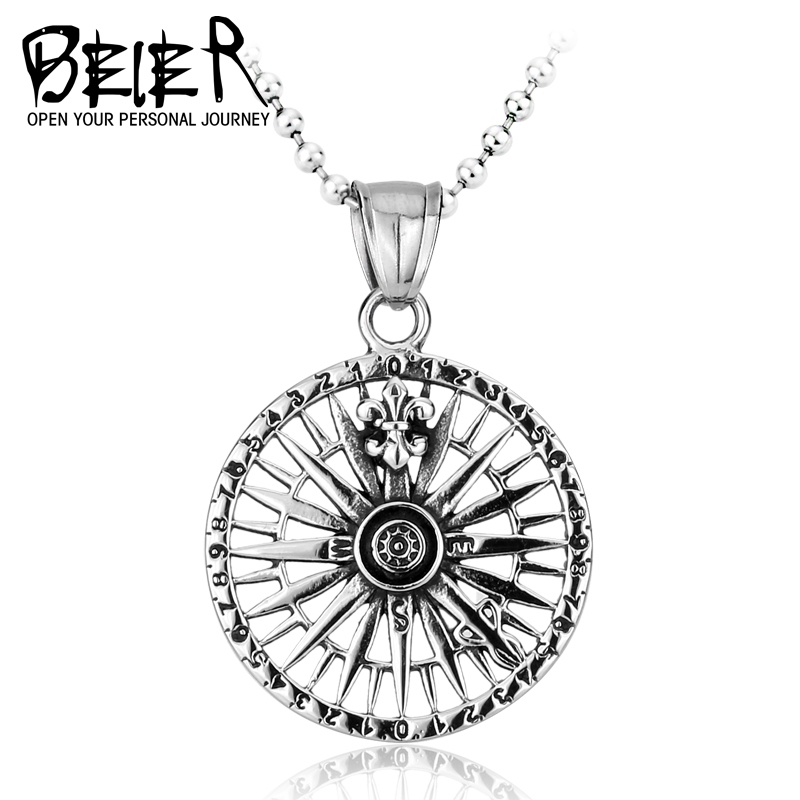 Beier new store 316L Stainless Steel pendant necklace compass high quality fashion chain unisex jewelry LLBP8-027R(China (Mainland))