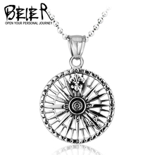 Beier new store 316L Stainless Steel pendant necklace compass high quality fashion chain unisex jewelry LLBP8-027R(China)