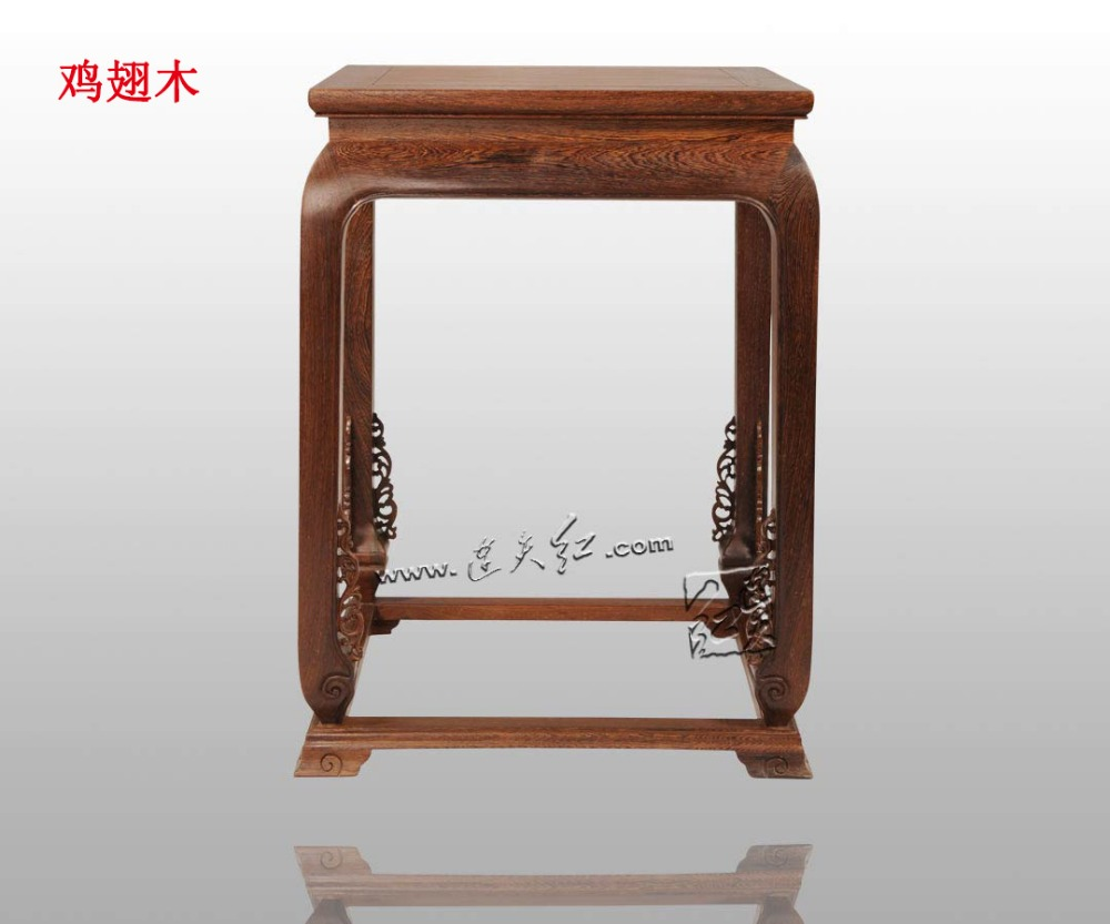 Tea Table with Scroll Grass Pattern Drum Leg Chinese Classical Living Room Solid Wood Furniture low Coffee Desk Rectangle Teapoy