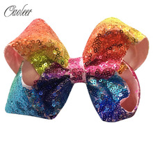 "5pcs/lot 5"" Girls Rainbow Sequin Hair Bow With Alligator Clip Bling Bling Hair Accessories Hairpin Girl Hair Accessories"