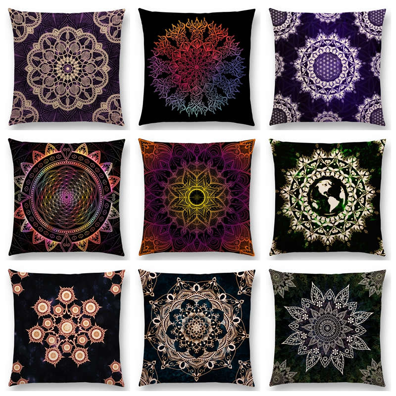 Dreamy Emerald Spirit Flower Soul Mandala Elegant Flourish Floral Pattern Design Prints Retro Cushion Cover Sofa Pillow Case(China (Mainland))
