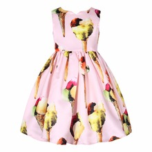 Toddler Dress Robe Princesse Fille 2017 Girls Summer Dresses Ice Cream Print Costumes for Kids Clothes Children Princess Dress
