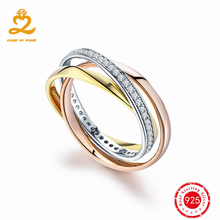 925 Sterling Silver Rings for Women Classic Solid Silver Set of Rings with 1 Micro Rose Gold Wedding Fine Jewelry Trinity Ring(China)