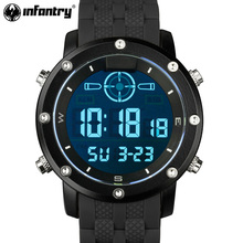 INFANTRY Men LED Digital Wristwatches Outdoor Military Watches Luxury Brand Male Clock Sport Rubber Black Relogio Masculino 2017(Hong Kong,China)