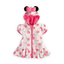 Pink Polka Dots One Piece Casual Summer Girls Dress Hooded Minnie Bowtie zipper Kids Dresses For Girls Clothes Children Clothing