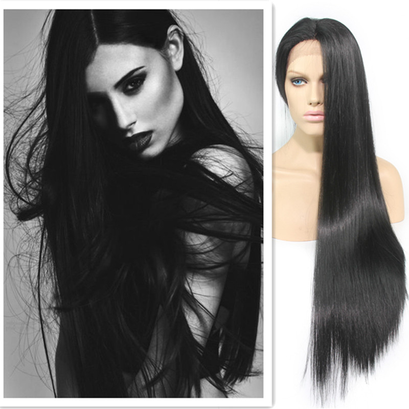 High Quality Silky Straight Synthetic Lace Front Wig Straight Hair Wigs With Baby Hair For African American<br><br>Aliexpress