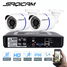 Saqicam 4CH 1080N DVR Kit 2pcs AHD 960P CCTV Camera Security System Outdoor IR Night Vision Video Surveillance Kit ABS Plastic