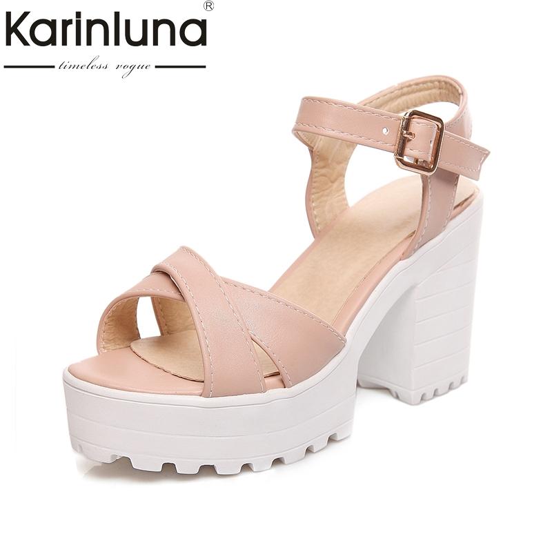 Karinluna 2018 New Plus Size 34-46 Customized Ankle Strap Fashion Gladiator Sandals Platform Square High Heels Women Shoes Woman<br>