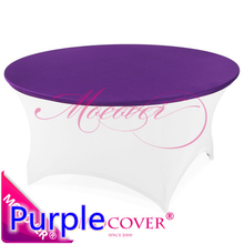 Purple colour spandex top cover for round cocktail lycra tablecloth wedding banquet and party cocktail table decoration on sale