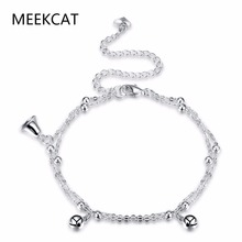 MEEKCAT Chain Link foot Bracelet With 925 stamped silver plated Small Bell Anklets For Women Silver Chain foot jewelry With Bell