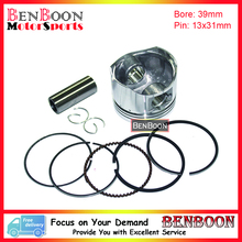 GY6 50CC 39mm PISTON KIT 4T 139QMB Chinese Scooter Parts ATV Parts Go-Kart Parts Znen Baotian Peace Taotao Icebear Free Shipping