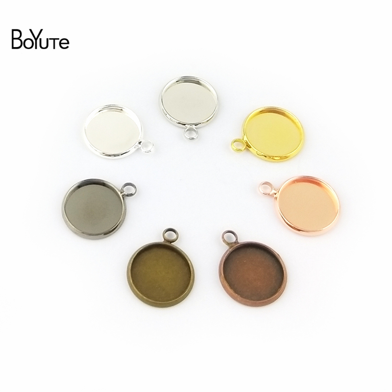 BoYuTe 50Pcs 6 Colors Plated Round 10MM 12MM 14MM 16MM 18MM 20MM 25MM Cameo Cabochon Base Diy Blank Tray Pendant Base (3)