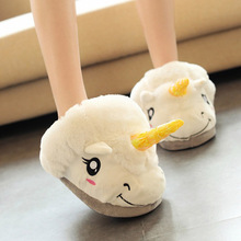 2 Style Children Adults Cartoon Warm Indoor Slippers Plush Unicorn Slippers for Grown Ups Home Slippers Kids Adult Shoes 1 Pair(China)