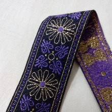 3.3cm 33mm 1-3/8' purple gold filigree flowers beautiful lace ribbon Dog Collar costume laciness national jacquard woven webbing