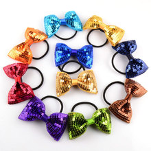 3inch plaid sequin hair bow with elastic bands girls hair ties 12pcs/lot(China)