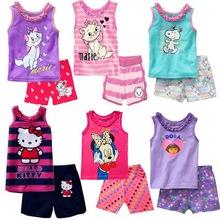 Classic Summer Children's Clothing Kitty/dora/cat Cartoon Printing Baby Girl Pajamas Suit Sets Cotton Shirts + Casual Shorts