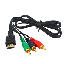 High Quality 1Pcs HDMI To 3RCA Video Component Convert Cable  3 RCA Adapter 3FT 1M Audio HDTV VGA AV Cord Promotion