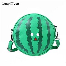 Luxy Moon summer new female bag PU leather women bag cute fruit packet chain shoulder messenger bag orange watermelon Pear bag(China)