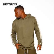 HEYGUYS green high street wear pullover Men sweatshirts men Hip Hop Streetwear pure Sweatshirts wear Clothing fleece clothes(China)