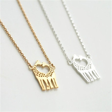 Cute Animal Giraffe Necklace Jewelry. Couple Giraffe Love Necklace.Love Heart Gift For Friend