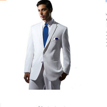 white suits for men Men suit custom fashion groom send tie white can also be business 2 buttons custom(China)