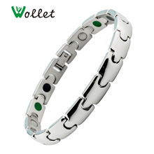 Wollet Jewelry Women Health Energy Luxury Magnetic Stainless Steel Bracelet Germanium Infrared Bio Magnet Ion Bracelets Femme