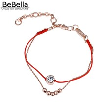 BeBella 2 layer thin red cord thread string rope line bracelet with crystals from Swarovski gold color plated chain women gift(China)