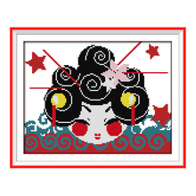 JoySunday counted cross stitch diy Japanese dolly doll carton red star DMC14CT11CT cotton needlework baby room bedroom painting(China)