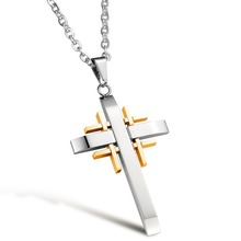 High Quality Vintage Cross Pendant Necklace for Men Stainless Steel Jewelry Fashion Accessory Wholesale Store DQX