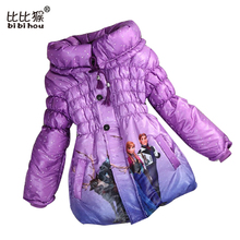 Retail 2017 new Children's Coat Cute Girls Warm Winter Parka Children Cotton Snow Queen Elsa Jacket thick Cotton-Padded Clothes