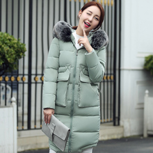 2017 Plus Size Warm Fur Collar Hooded Down Cotton Parkas For Women Winter Fashion Medium Long Padded Female Jacket Coat WUJ0600