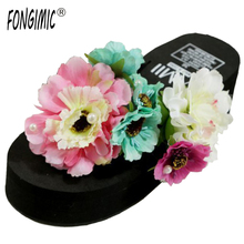 Special Design Floral Flip Flops Slip-on Wedges Beautiful Looking Women Shoes Female Summer Time Wear Platform Two Colors cozy