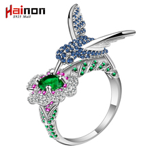 New 2017 Fashion s925 sterling silver color Ring Color Flower And Bird Design Fashion Weddings Rings Jewelry for Women Souvenirs(China)