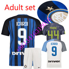 HOT SALES 2017 BEST QUALITY ADULT INTER MILANES SOCCER JERSEY 17 18 HOME RED AWAY GRAY MEN SHIRT FREE SHIPPING Set(China)