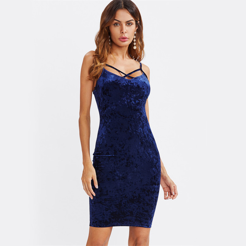 COLROVIE Strappy Cross Club Velvet Dress 2017 Women Royal Blue Fitting Bodycon Slip Summer Dresses Sexy Slim Elegant Midi Dress 5