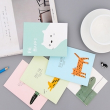 4pcs Creative cartoon greeting card handmade cute animal wishes card birthday card postcard Mother's day card(China)